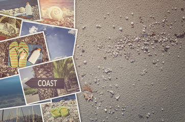Travel photo collage on beach sand background