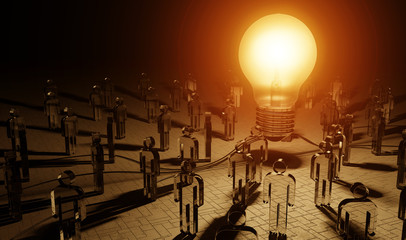 Big lightbulb illuminating a group of people 3D rendering