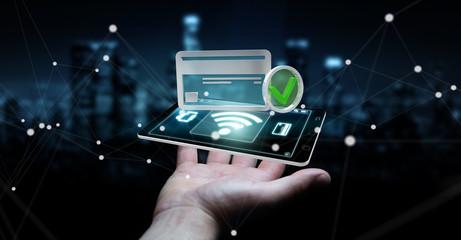 Businessman using contactless terminal payment 3D rendering