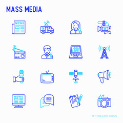 Mass media thin line icons set: journalist, newspaper, article, blog, report, radio, internet, interview, video, photo. Modern vector illustration.