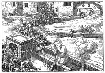 Spanish Fury - spanish soldiers sack Antwerp at November 4, 1576 (from Spamers Illustrierte Weltgeschichte, 1894, 5[1], 616/617)