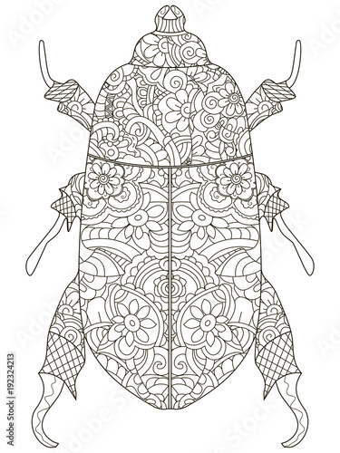 Anti Stress Coloring Book Vector Object Egyptian Beetle Black Lines On