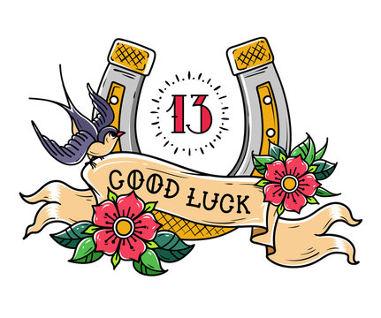 Tattoo gold horseshoe with roses, swallow, mystical number 13 and ribbon with lettering Good Luck.