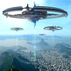 3D Illustration of futuristic energy source spacecrafts in Rio De Janeiro