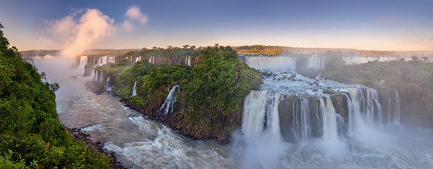 Door stickers Waterfalls The amazing Iguazu falls, summer landscape with scenic waterfalls