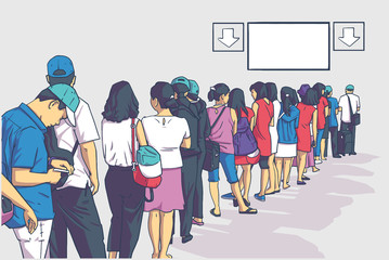 Illustration of crowd of people standing in line whit blank sign in perspective
