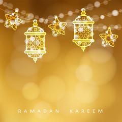 Islamic greeting card. Garlands with oriental arabic lanterns, stars and lights. Golden vector illustration background, invitation for muslim holy month Ramadan Kareem.