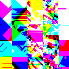 Abstract chemical glitching effect. Random digital signal error. Abstract contemporary texture background colorful pixel mosaic. Element of design for a trendy poster, music cover, business card.