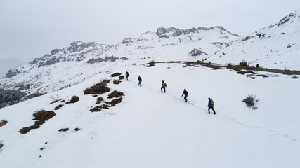 hiking at the summit of the mountains in winter