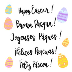 Happy Easter hand written lettering isolated on white in different languages.