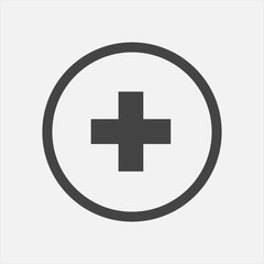 Vector icon hospital medicine. Medical cross illustration in a circle