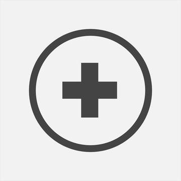 Vector icon hospital medicine. Medical cross illustration in a circle
