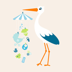 Stork Mobile Baby Boy Symbols Hanging