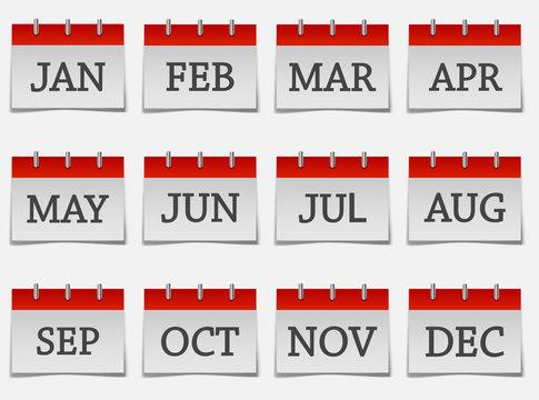 Calendar month set  icon on grey color