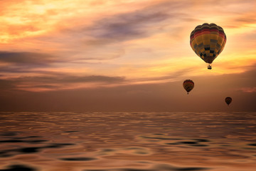 Colorful Balloon in Twilight Sunset Sky Background - Landscape View