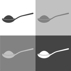 Vector icon of a spoon with sugar or salt. Vector icon on white-grey-black color