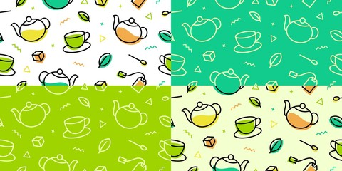 tea pattern green leaf cup pot memphis colorful outline line art seamless background wallpaper download