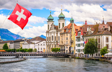 Wall Mural - Cityscape of Lucerne and Jesuit church in Luzern, Switzerland
