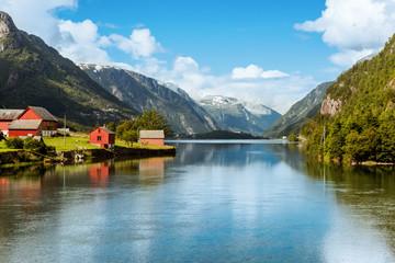 Foto op Plexiglas Scandinavië Odda is Norway town located near Trolltunga rock