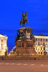 The monument to Emperor Nicholas I on St. Isaac's square in St. Petersburg