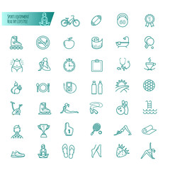 Sport, sports equipment, healthy lifestyle icons set