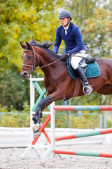 Young rider man on bay horse jumping over hurdle on show jumping competition