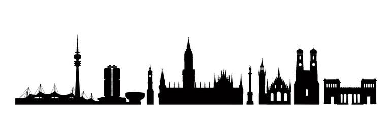 Munich city, Germany. Landmark buildings silhouette Travel Bavaria icon set.