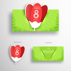 Vector set of greeting green envelope with insert in the form of red tulip for 8 of March - International Women's Day with pattern from leafs and flower silhouette on the gray background.
