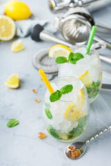 Cold alcohol mojito cocktail, long drink beverage, lemonade