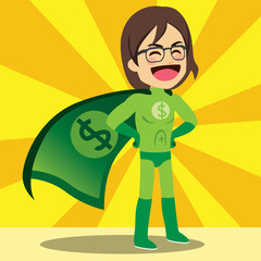 Happy super money hero with green dollar cape
