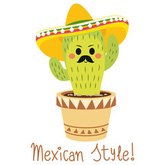 Cute and funny cactus character with hat and mexican style text