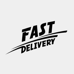 Fast delivery logo. Fast delivery typographic monochrome inscription.