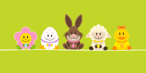 Banner Easter Rabbit & Friends Green