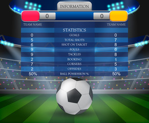 soccer football stadium spotlight and scoreboard background.vector illustration
