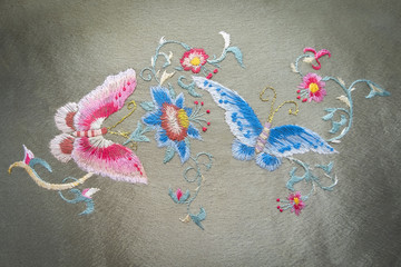 Painting butterflies and flowers embroidery handmade