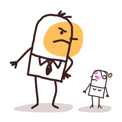 Cartoon Big Angry Man against a Small Injured Woman