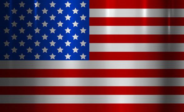 USA Flag Metallic Texture Abstract Background
