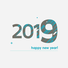 Happy New Year 2019 Vector Illustration - Bold Text with Creative Design on White Background - Brown and Blue Lines, Circles, Plus Sign