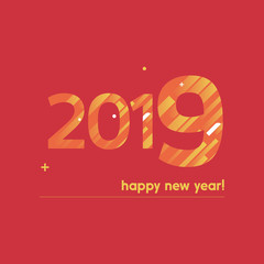 Happy New Year 2019 Vector Illustration - Bold Text with Creative Design on Red Background - Orange and Yellow Lines, Circles, Plus Sign