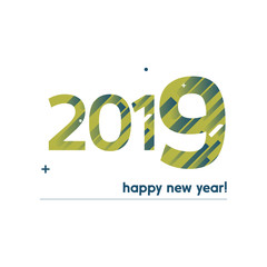 Happy New Year 2019 Vector Illustration - Bold Text with Creative Design on White Background -  Blue and Green Lines, Circles, Plus Sign