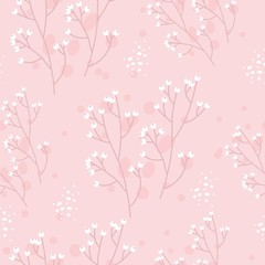 Seamless pattern with hand drawn flowers. 8 March. Vector illustration.