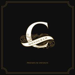 Elegant letter C. Calligraphic beautiful logo with tape for labels. Graceful style. Vintage drawn emblem for book design, brand name, business card, Restaurant, Boutique, Hotel. Vector illustration