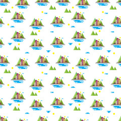 Seamless pattern with Urban city Landscape with Mountain a white background. Vector repeating texture.