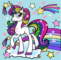 Lovely cartoon, rainbow unicorn.