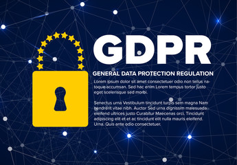 European GDPR concept flyer template illustration