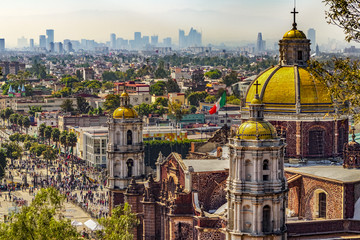 Spoed Fotobehang Mexico Mexico. Basilica of Our Lady of Guadalupe. The old basilica and cityscape of Mexico City on the far
