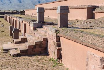 Akapana pyramid in Tiwanaku (Tiahuanaco), Pre-Columbian archaeological site, Bolivia