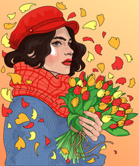 vector beautiful young brunette in fashionable clothes with a bright bouquet of spring tulips in hands