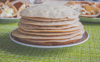 Traditional Moroccan pancakes, meloui for food in Ramadan.