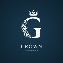 Elegant letter G with crown. Graceful royal style. Calligraphic beautiful logo. Vintage drawn emblem for book design, brand name, business card, Restaurant, Boutique, Hotel. Vector illustration